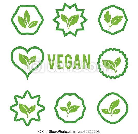 blanc, formes, arrière-plan., plants., ensemble, divers, isolé, vert, icône, vecteur, feuilles, arbres - csp69222293