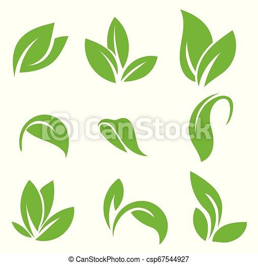 blanc, formes, arrière-plan., plants., ensemble, divers, isolé, vert, icône, vecteur, feuilles, arbres - csp67544927