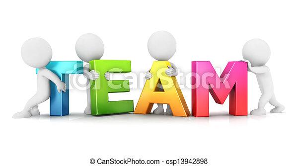 blanc, gens, 3d, équipe - csp13942898