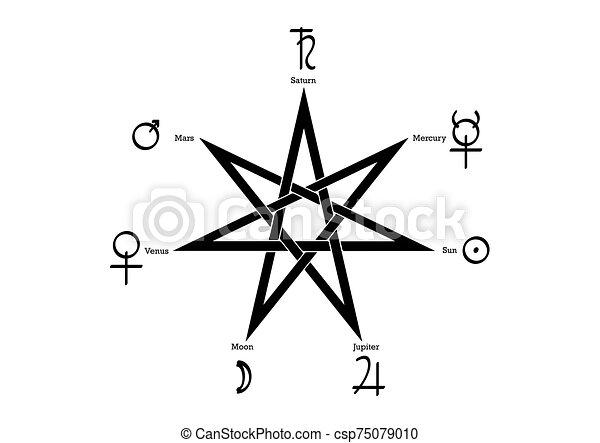 blanc, heptagram, vecteur, rituel, isolé, planétaire, fond - csp75079010