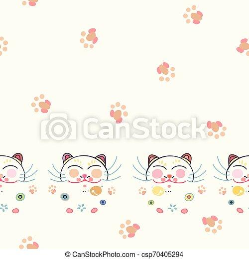 blanc, heureux, frontière, florals., chat - csp70405294