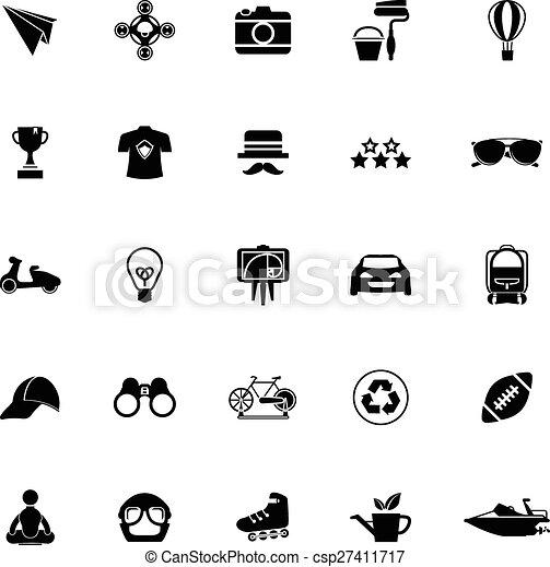 blanc, hipster, fond, icônes - csp27411717