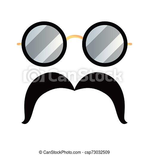 blanc, hipster, moustache, fond, lunettes - csp73032509