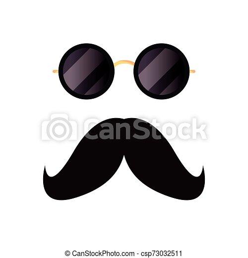blanc, hipster, moustache, fond, lunettes - csp73032511