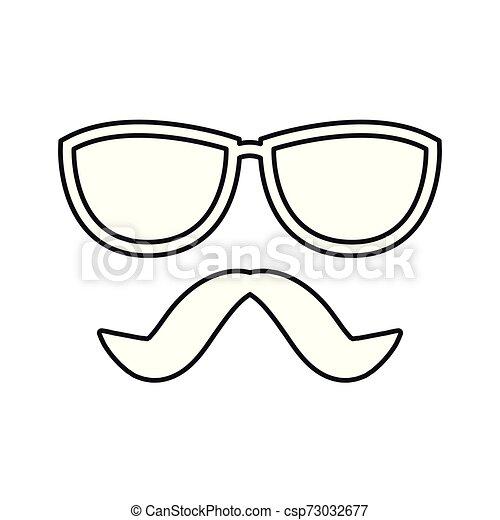 blanc, hipster, moustache, fond, lunettes - csp73032677