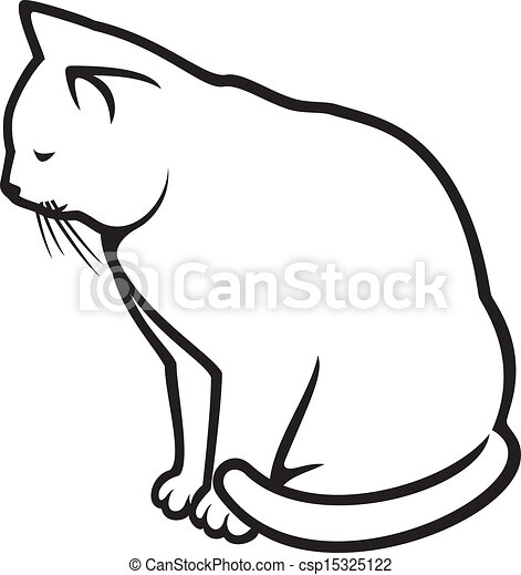 blanc, -, illustration, chat - csp15325122