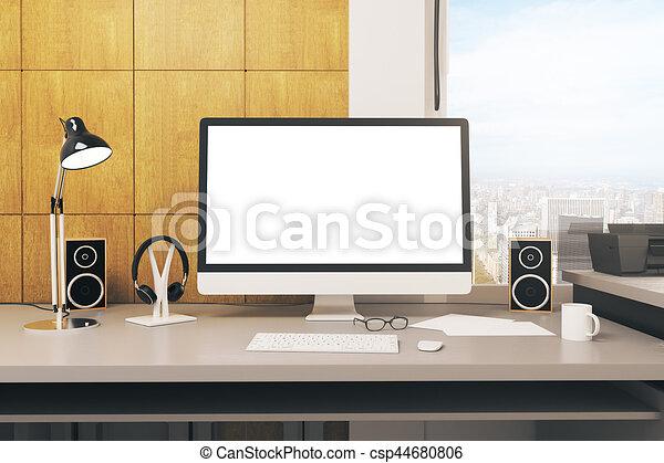 Blanc informatique bureau vide ville haut concepteur