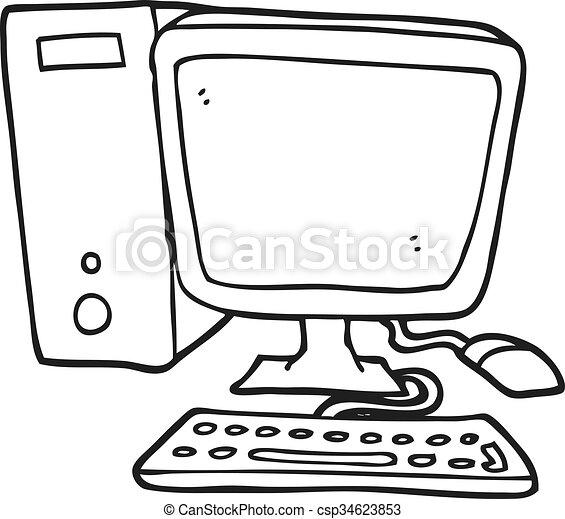 Blanc, informatique, noir, dessin animé, clavier. Ordinateur