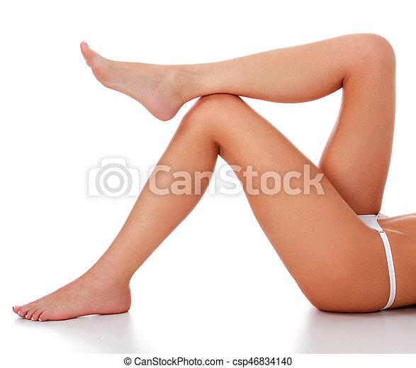 blanc, jambes, isolé, fond, femme - csp46834140