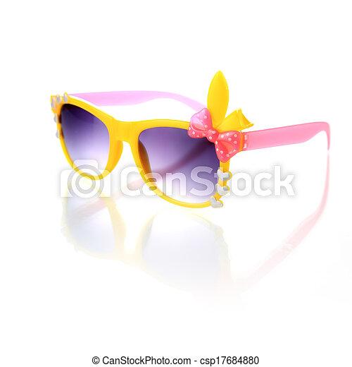 blanc, lunettes soleil, isolé, fond - csp17684880