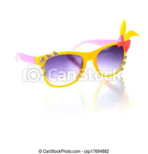 blanc, lunettes soleil, isolé, fond - csp17684882