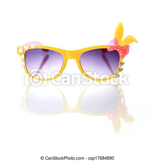 blanc, lunettes soleil, isolé, fond - csp17684890