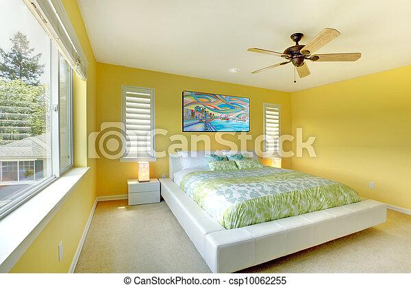 Blanc, moderne, bed., jaune, chambre à coucher. Literie,... images ...
