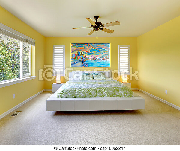 Blanc, moderne, bed., jaune, chambre à coucher. Moderne,... photo ...