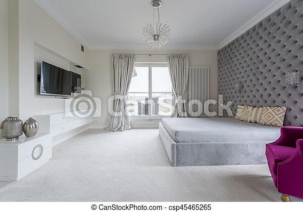 Blanc Moderne Chambre A Coucher Ta C La C Viseur Mur Grand