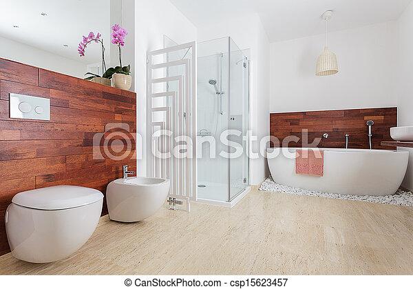 Blanc, moderne, salle bains. Douche, salle bains, moderne, blanc, bain.