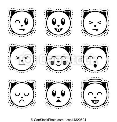 Blanc noir cat emoji emoji blanc noir cat emoji - Smiley en noir et blanc ...