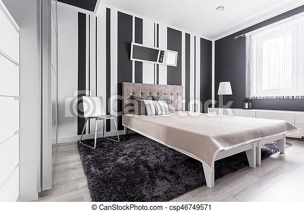blanc, noir, chambre à coucher