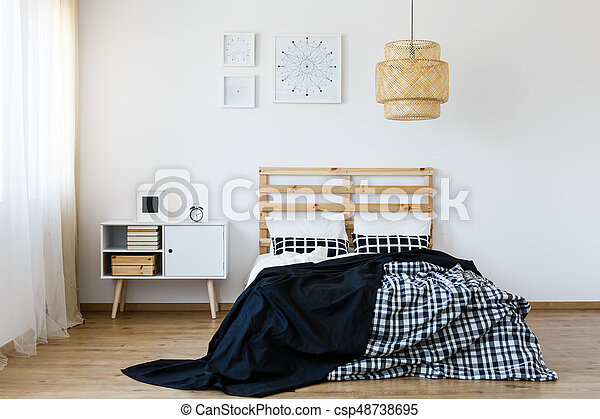 Blanc Noir Chambre A Coucher Bois Moderne Lit Noir Chambre