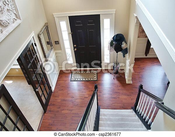 blanc noir foyer escalier moderne rampe visible moquett bois home l bas hatstand. Black Bedroom Furniture Sets. Home Design Ideas