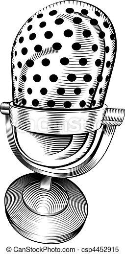 blanc, noir, microphone - csp4452915