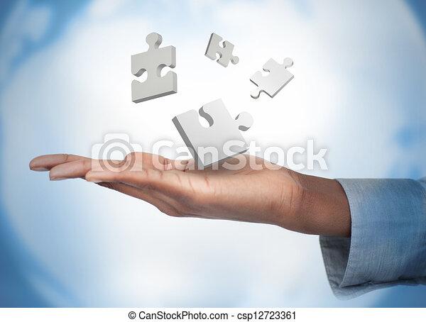 blanc, numérique, main, puzzles - csp12723361