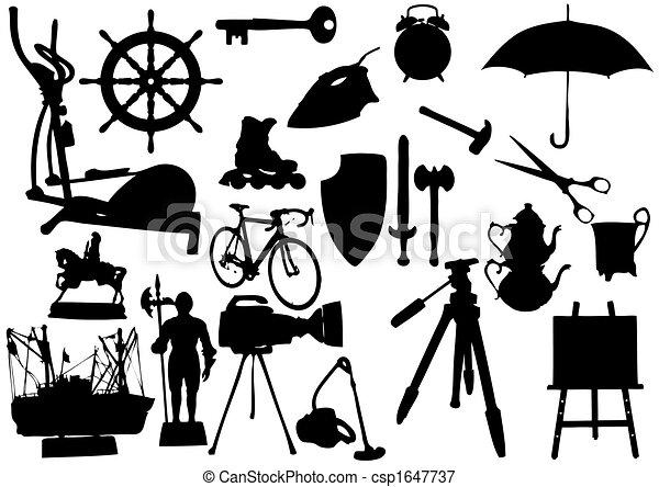 blanc, objets, silhouette, fond - csp1647737