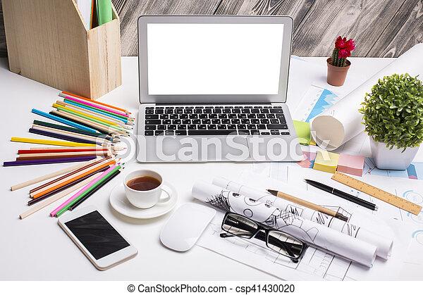 Meuble bureau en verre bureau blanc laque avec tiroirs homeo