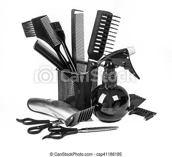 blanc, outils, coiffure