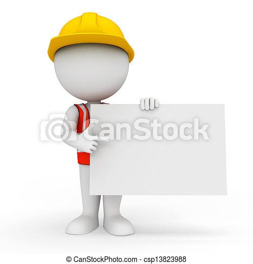 blanc, ouvrier, gens fonctionnement - csp13823988