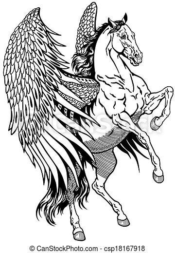 Blanc p gase ail mythologique illustration noir p gase cheval blanc - Dessin de pegase a imprimer ...