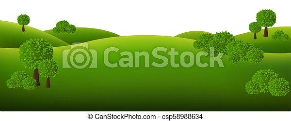blanc, paysage, vert, isolé, fond - csp58988634