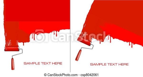blanc, peinture, rouleau, rouges, wall. - csp8042061
