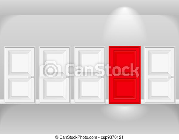 blanc, porte, rouges, portes, rang - csp9370121