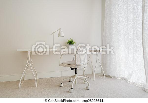 blanc, retro, bureau - csp28225644