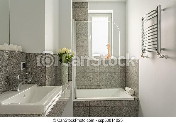 blanc, salle bains, gris
