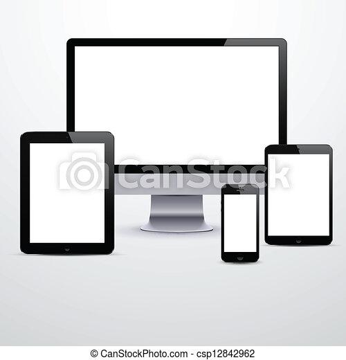 blanc, screens., électronique, appareils, vide - csp12842962