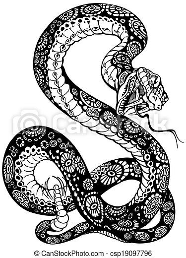 Blanc Serpent Noir Tatouage Illustration Serpent Noir Bouche