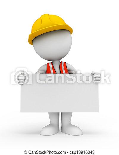 blanc, signe, ouvrier, 3d, gens - csp13916043