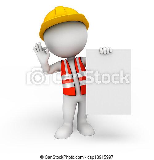 blanc, signe, ouvrier, 3d, gens - csp13915997