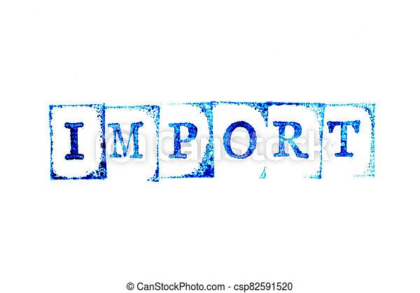 blanc, timbre, bleu, papier, encre, fond, importation, mot, caoutchouc - csp82591520