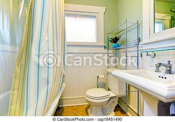 blanc, vert, salle bains, rafraîchissant