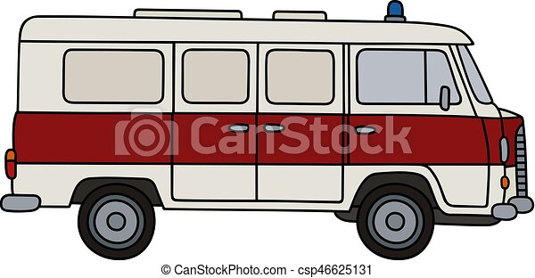 Blanc vieux ambulance dessin main ambulance retro minivan - Dessin ambulance ...