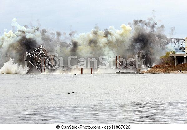 Blanchette Bridge Demolition over Missouri River - csp11867026