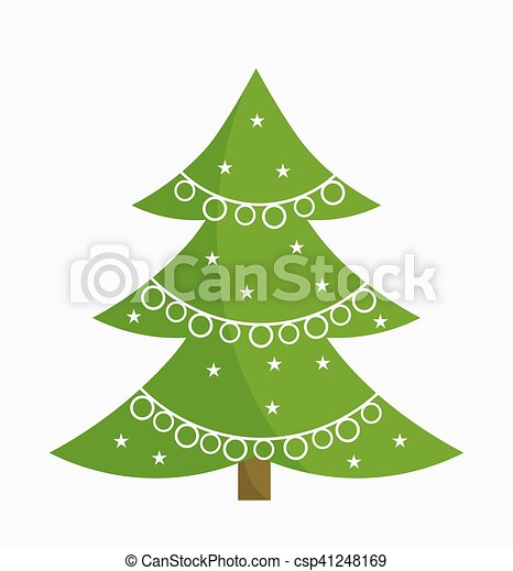 Árbol de Navidad con adornos blancos - csp41248169