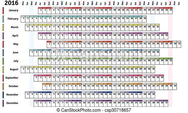 Calendario Lineal.Blanco 2016 Lineal Calendario