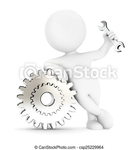 Engranajes de blancos 3D - csp25229964