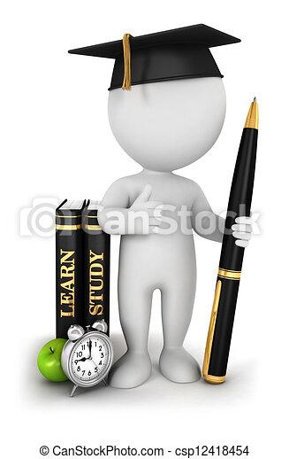 3 de los blancos estudiantes estudiosos - csp12418454
