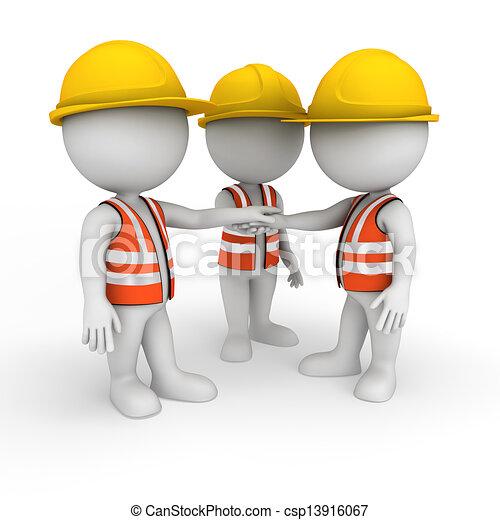3D blancos como trabajadores de carretera - csp13916067