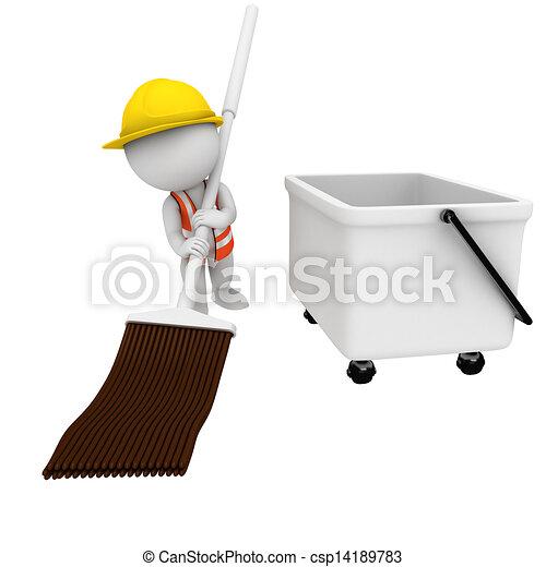 3D blancos como trabajadores de carretera - csp14189783